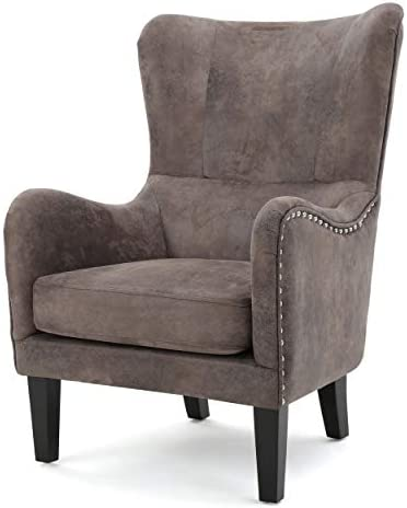 Christopher Knight Home 300096 Lorenzo Arm Chair Fabric Hi-Back Studded Chair
