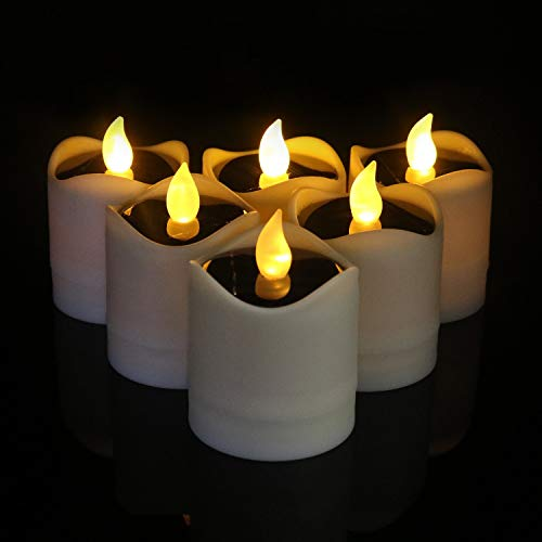 Led Solar Candles Pillar 6pcs, Flameless Tea Lights Large Solar Powered Flickering for Indoor Decorative, Windows Christmas Party Outdoors Pathway, Camping, Thanksgiving Day(Warm White)