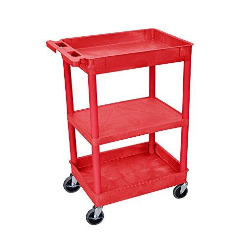 Luxor Multipurpose Top/Bottom Tub & Flat Middle Shelf Cart - Red