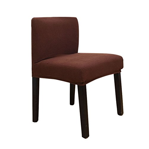 Deisy Dee Stretch Chair Cover Slipcovers for Short Back Chair Bar Stool Chair (dark brown) (Bar Seat Chair Covers)