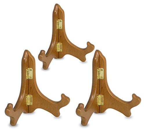 Wood Easels Folding Display Plate Stand Premium Quality Walnut - 5 Inch - Set of 3 Pieces