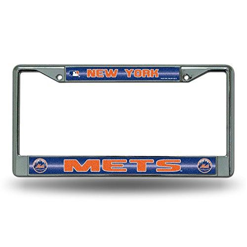New York Mets License Plate - Rico MLB New York Mets Bling License Plate Frame, Chrome, 12 x 6-Inch