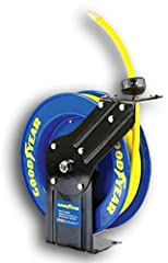 The Goodyear GUR006 Air/Water Hose Reel is crafted of heavy duty industrial steel, heat treated w/ powder coating resisting against corrosion. Reinforced flanged edges, stamped steel single guide arm & L-base all light weight &...