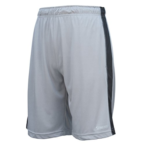 Spalding Mens Active Interlock Basketball Gym Athletic Workout Shorts with Contrast Side Panel Concrete Gray/Black M