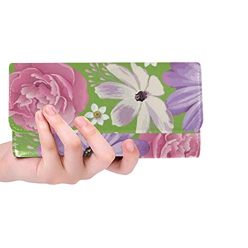 Unique Custom Elegance Color Peony On Women Trifold Wallet Long Purse Credit Card Holder Case Handbag ()