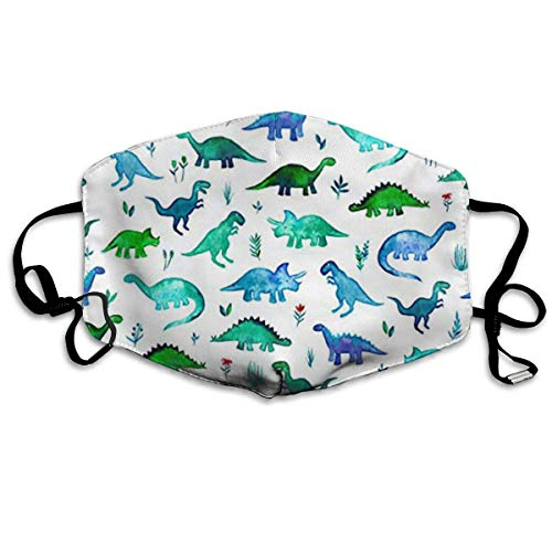Fabric Tiny Dinos in Blue and Green Breathe Healthy Face Mask. - Filters Dust, Pollen, Allergens, Flu Germs with Antimicrobial Germ Killing ()
