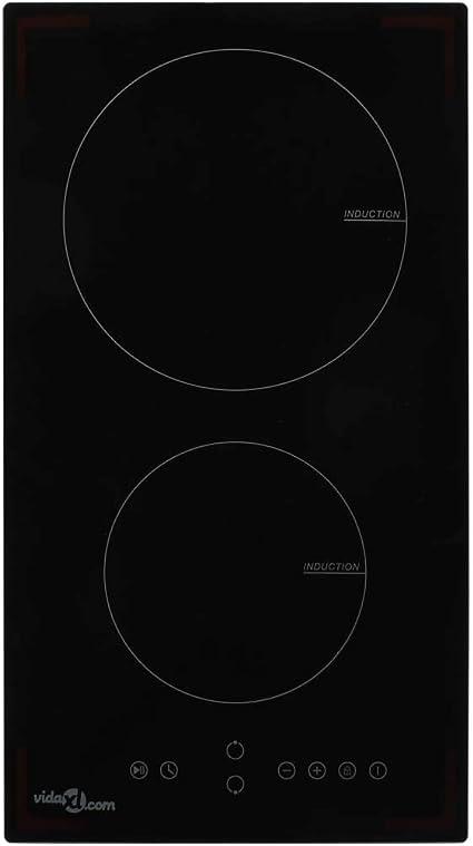 vidaXL Placa Vitrocerámica de Inducción con 2 Quemadores Táctil Cocina Accesorios Electrodomésticos Comedor Vidrio Resistente al Calor Segura 3500W