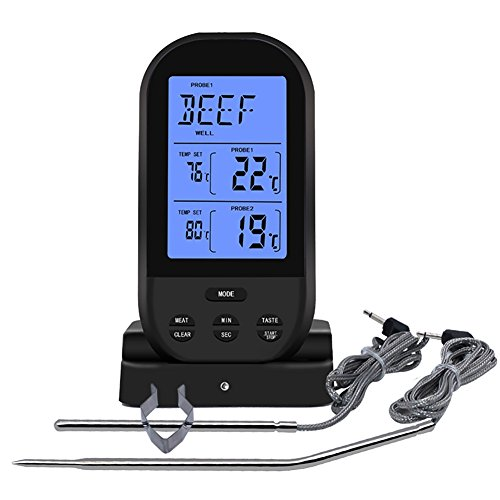 Remote Grilling Thermometer (JINTOP Digital Meat Thermometer Wireless Remote Instant Read Food Cooking Thermometer Oven Safe Digital Dual Probe Thermometer for Grilling BBQ Barbecue Turkey Kitchen Smoker. (Black))