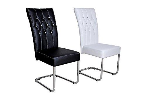 2 Stück Stühle Design Kunstleder Schwarz Mit Strass Und Füße Stahl