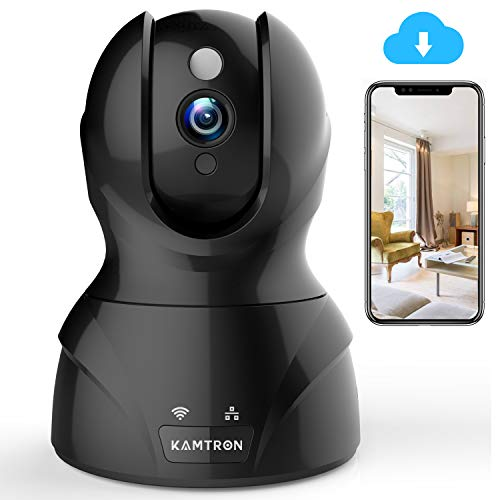 Wireless Security Camera with Two-way Audio - KAMTRON 1080P HD WiFi Security Surveillance IP Camera Home Baby Monitor with Motion Detection Night Vision, Black ()