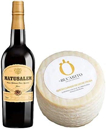 Pack de Vino Oloroso Dulce Matusalem y Queso Curado de Leche Cruda - Vino de 75 cl y Queso de 900 g aprox - Mezclanza