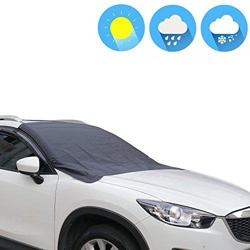 Universal Magnetic Snow & Sunshade Covers Jackey Awesome 180T Oxford Fabric Car SUV Windshield Cover Foldable Protector Exterior Shield Guard Fits All Weather Auto Sun Shade Cover (Black, XL(80×50 ()