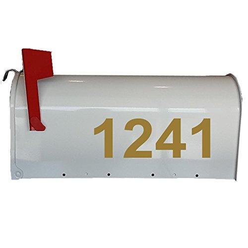 Mailbox Decals Street # Address Numbers Custom Feature Mailbox Stickers Vinyl Letters VWAQ-CMB2 (Gold)