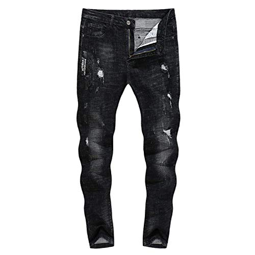 34 Fashion Dritta Strappati color Da Giovane Size A Uomo Stretch Saoye Gamba Pantaloni 3131 Neri Jeans Thick Zlh Biker 2018 HOwnd41