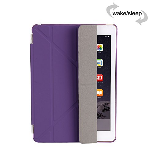 iPad Air 2 Case, Dowswin Multi Folded Protective PU Leather Front Case with Sleep Wake Up Function and Transparent Hard Back Cover for Apple 6th Gen (Purple) Photo #5