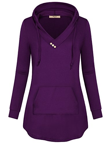 Flowy Tops for Women Long Sleeve,Miusey Ladies Sports Apparel Loose Fitted Trapeze Spandex Round Bottom Stretchable Chic Modest Running Tunic Pullover Pop Workout Athleisure Top Junior Outfit Purple L