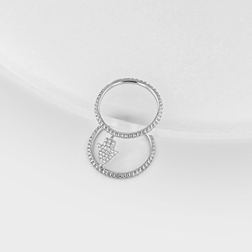 925 Sterling Silver White Inlay Cubic Zirconia Double Band Hamsa Hand Ring, Size 7 by Collection Bijoux (Image #2)