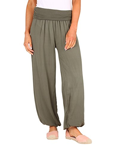 KRISP Pantalones Anchos Mujer Lisos Verano Bombachos Baggy Cintura Alta Harem Caqui