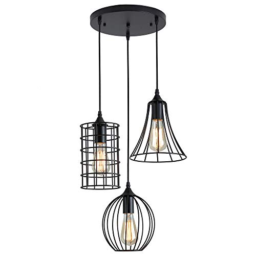 - ZZ Joakoah Industrial Vintage 3-Light Pendant Ceiling Light, Metal Wire Cage Hanging Light Fixture for Kitchen Island Dining Table Hallway Bedroom, 3×E26, Black Painted Finish.