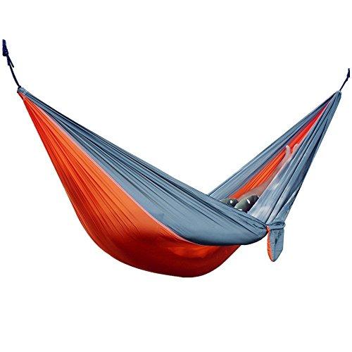 Travel Camping Hammock Portable Parachute Nylon Fabric for Hiking, Boating, Sleeping, Backpacking, Climbing (Orange, 275cm × 140cm)