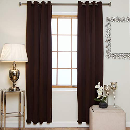 - Blackout Curtain Chocolate Antique Brass Grommet Top Thermal Insulated 120 Inch Length Pair