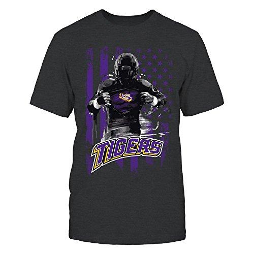 FanPrint LSU Tigers T-Shirt - Player Flag - Men's Tee/Dark Grey/L