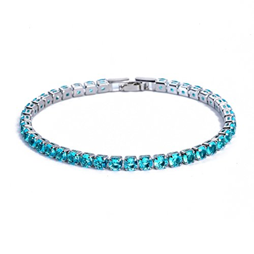 CARSINEL 4PCS Classic Luxury White Gold Plated with Cubic Zirconia Tennis Bracelet -Ideal Jewelry Gift for Engagement,Wedding,Birthday,Prom,Party (Aquamarine, 7.5