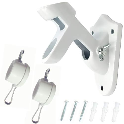 Combo Pack-2 Position Heavy-Duty Aluminum Flag Pole Holder Bracket with 2Pcs Flag Rotating Mounting Rings Fit for 1 inch FlagPole -White