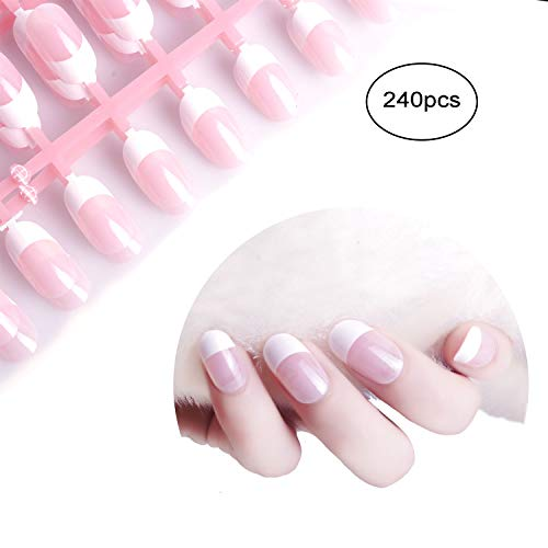 (Siusio 240 Pcs French Fake Nails, 10 Pack Natural Pink Full Cover Oval Medium UV Top Coat Artificial Acrylic Nails [No Glue)