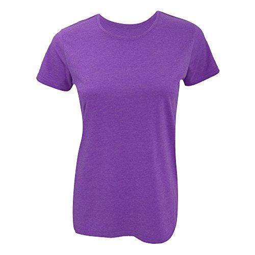 Russell- Camiseta de manga corta larga ajustada para mujer Púrpura jaspeado