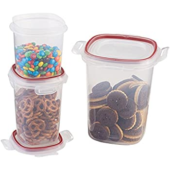 Rubbermaid FG7L0600CIRED 3-Piece Lock Its Canister, Includes 1- 3.7 Cup, 1 - 5.25 Cup, and 1 - 15 Cup Canister