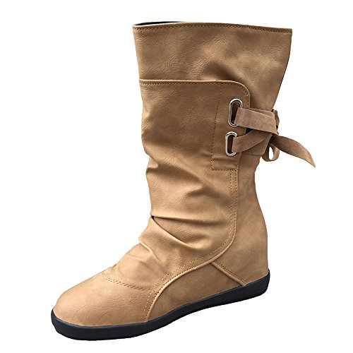 - Sunhusing Women's Solid Color Suede Mid-Tube Lace Trim Boots Ladies Flat Heel Nubuck Knee High Boots Snow Boots