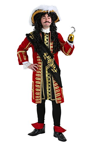 Red Captain Hook Jacket (Elite Captain Hook Costume Captain Hook Pirate Costume Adult X-Large)