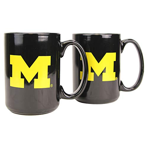Boelter NCAA Collegiate 15oz Black Out Coffee Mug 2-Pack (Michigan Wolverines)