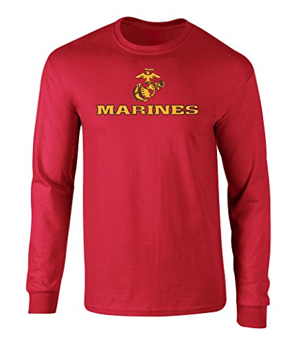 US Marines Two Tone Logo Graphic Long Sleeve Officially Licensed T Shirt Red ()