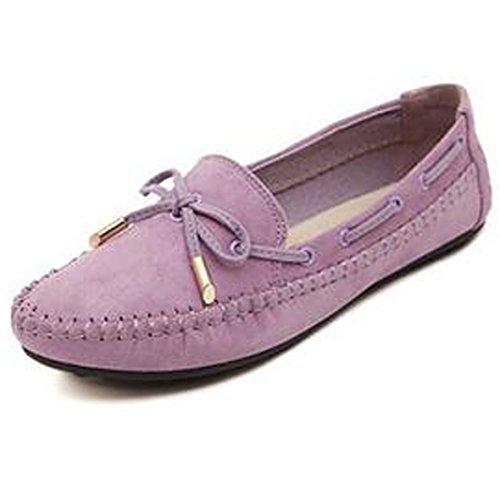 SUNAVY Damen Schmetterling Mokassins Ballerinas,2017 New Mädchen Komfortable Bow Loafers Slippers Halbschuhe Flach Fahren Schuhe(EU 34--EU 43) Lila