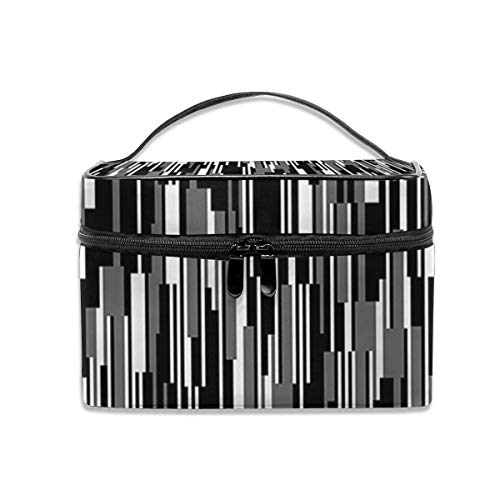 Dkhh an Abstract Vertical Stripe of A Barcode Pattern Travel Makeup Bag Cosmetic Cases Organizer Portable Storage Bag for Cosmetics Makeup Brushes Toiletry Travel Accessories