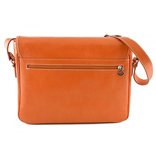 Bolso Messenger En Piel Color Naranja - Peleteria Echa En Italia - Bolso Hombre