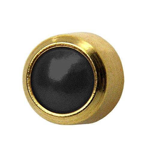(Studex Black Onyx Regular 4mm Gold Plated Bezel Setting Ear Piercing Stud Earrings)