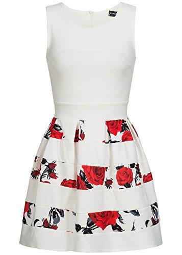 violet Fashion Damen Kleid Blumen Muster Gestreift, Weiss Rot Schwarz Weiss Rot Schwarz
