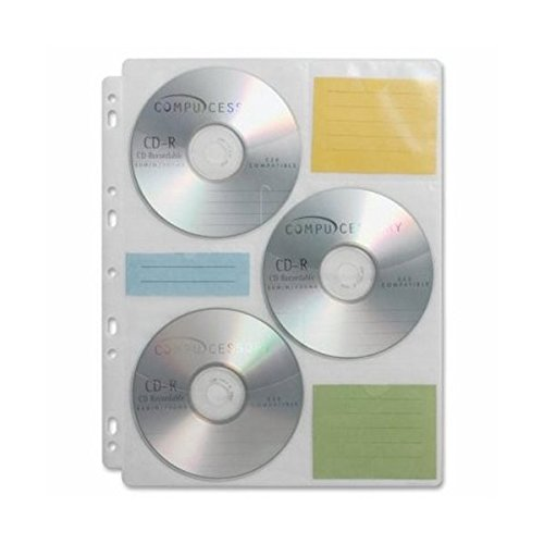 Compucessory Media Binder Refill Sheet - for Ring Binder - 6 CD/DVD Capacity - Polypropylene - 25 / Pack - Clear