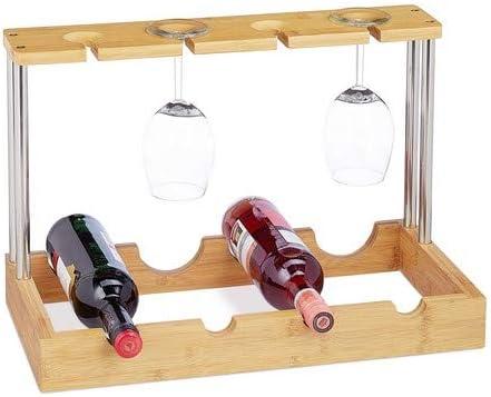 Relaxdays, 33 x 50 x 25 cm Botellero para 4 Botellas y 4 Copas de Vino, Bambú-Aluminio, Marrón, Madera, Naturaleza