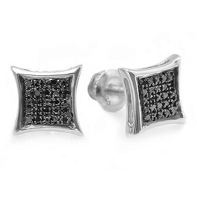 0.10 Carat ctw Black Round Diamond Micro Pave Setting Kite Shape Stud Earrings 1 10 CT