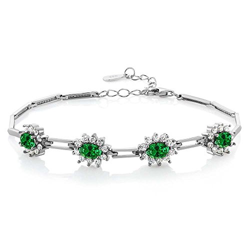 Gem Stone King 925 Sterling Silver Green Simulated Emerald Tennis Bracelet 4.72 Ctw 7 Inch with 1 Inch Extender
