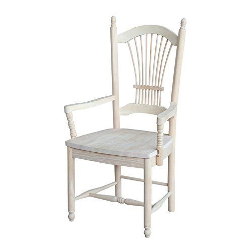 Maple Unfinished Wood - International Concepts C-1622 Sheaf Back Arm Chair, Unfinished