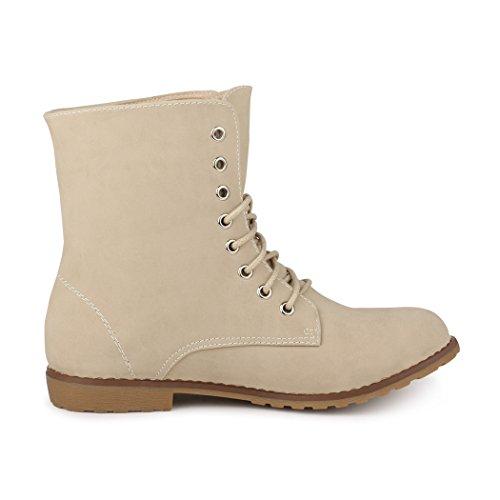 best-boots Damen Stiefelette Boots Worker Stiefel NEU: Beige (fällt kleiner aus)