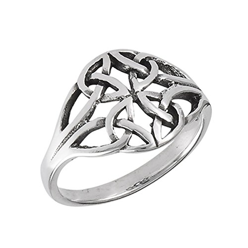 Prime Jewelry Collection Sterling Silver Women's Filigree Moon Celtic Trinity Knot Ring (Sizes 3-8) (Ring Size 6) ()