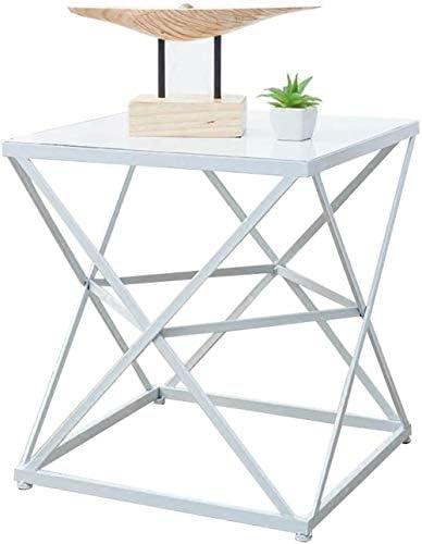 Fabrieksverkoop WGZ – tafel, salontafel, bijzettafel, nachtkastje, kantoor, make-uptafel van massief hout + ijzer, 45 x 45 x 50 cm, eenvoudig C  sH5BWva