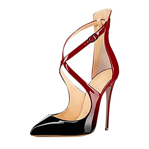 Womens Pointed Stiletto PU Slim Pumps Red - 1