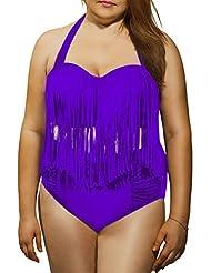 American Trends Women's Vintage Plus Size High Waist Fringe Bikini Retro Swimwear